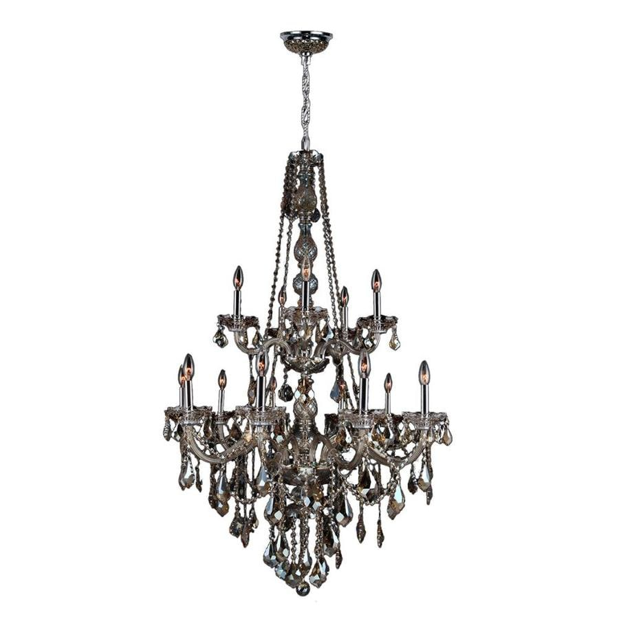 Worldwide Lighting Provence 33-in 15-Light Polished Chrome Crystal Candle Chandelier