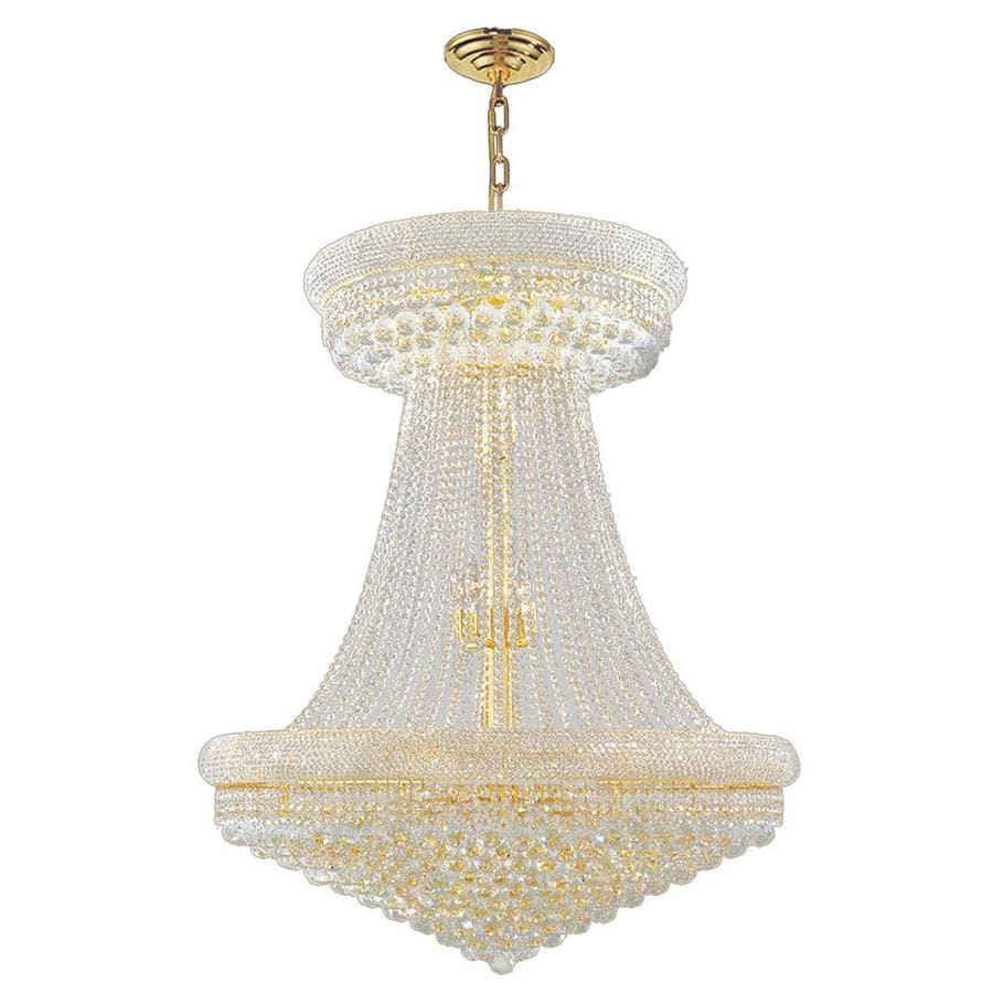 Worldwide Lighting Empire 36-in 32-Light Polished Gold Crystal Crystal Empire Chandelier