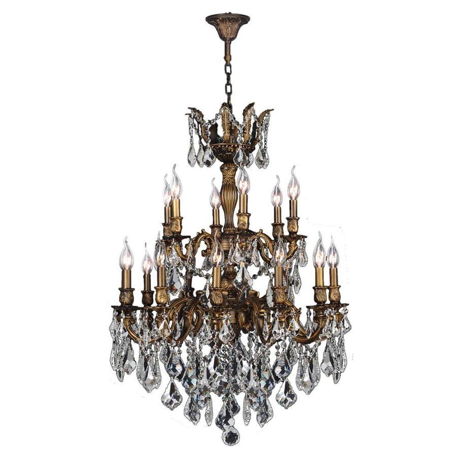Worldwide Lighting Versailles 27-in 18-Light Antique Bronze Crystal Candle Chandelier