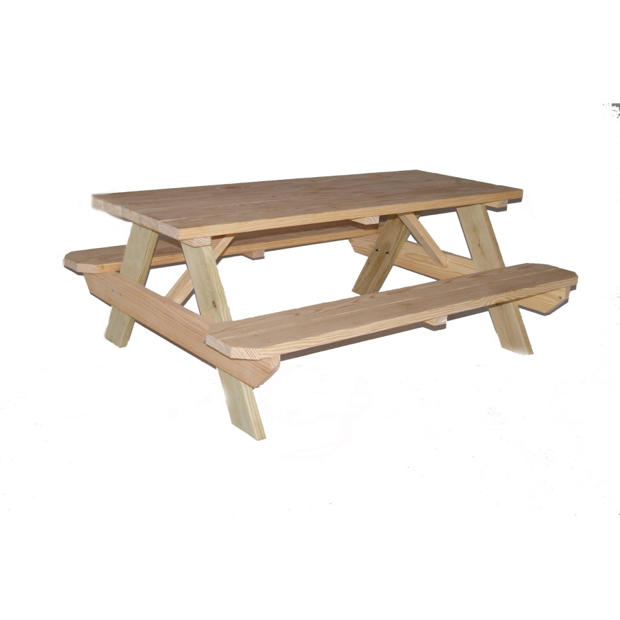 Garden Treasures 72 In Brown Southern Yellow Pine Rectangle Picnic Table