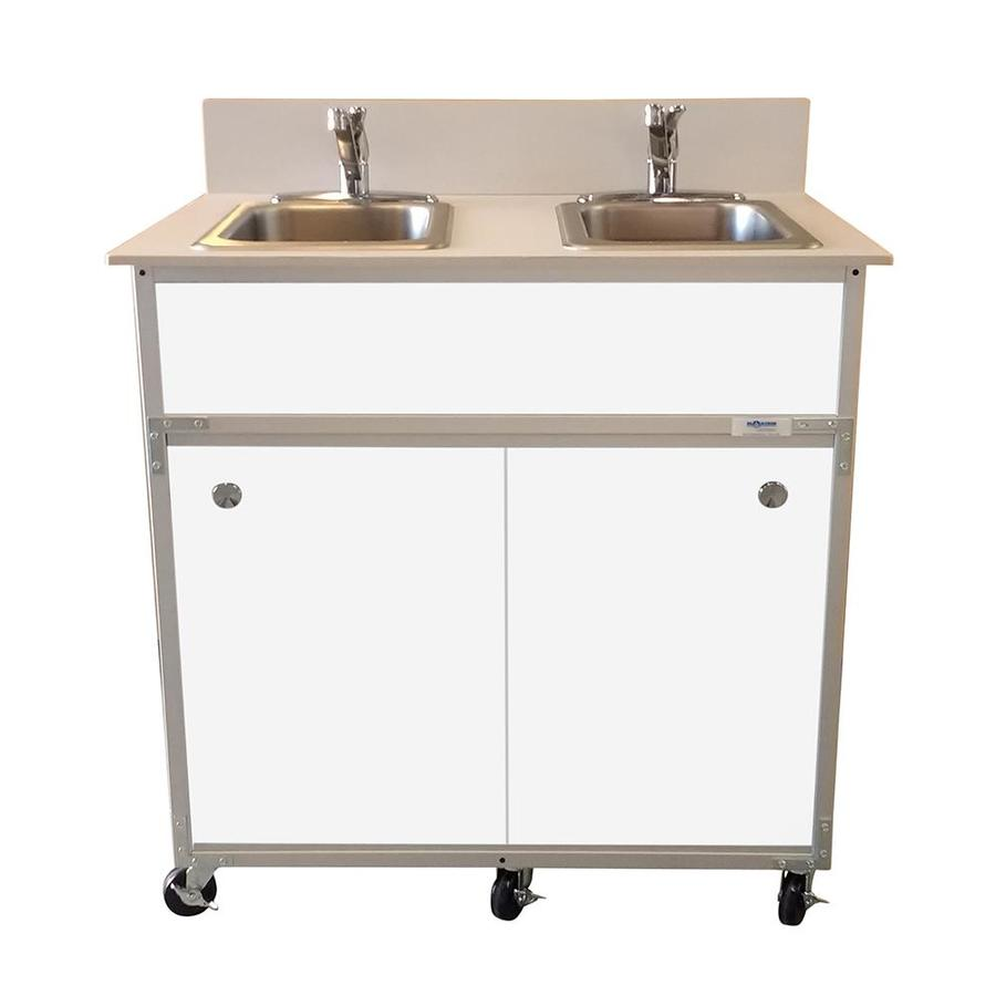 MONSAM White Double-Basin Stainless Steel Portable Sink