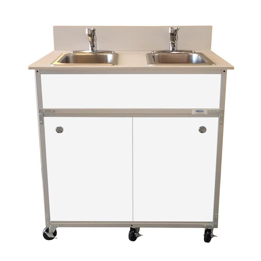 Shop monsam white double basin stainless steel portable sink at - Portable sink lowes ...