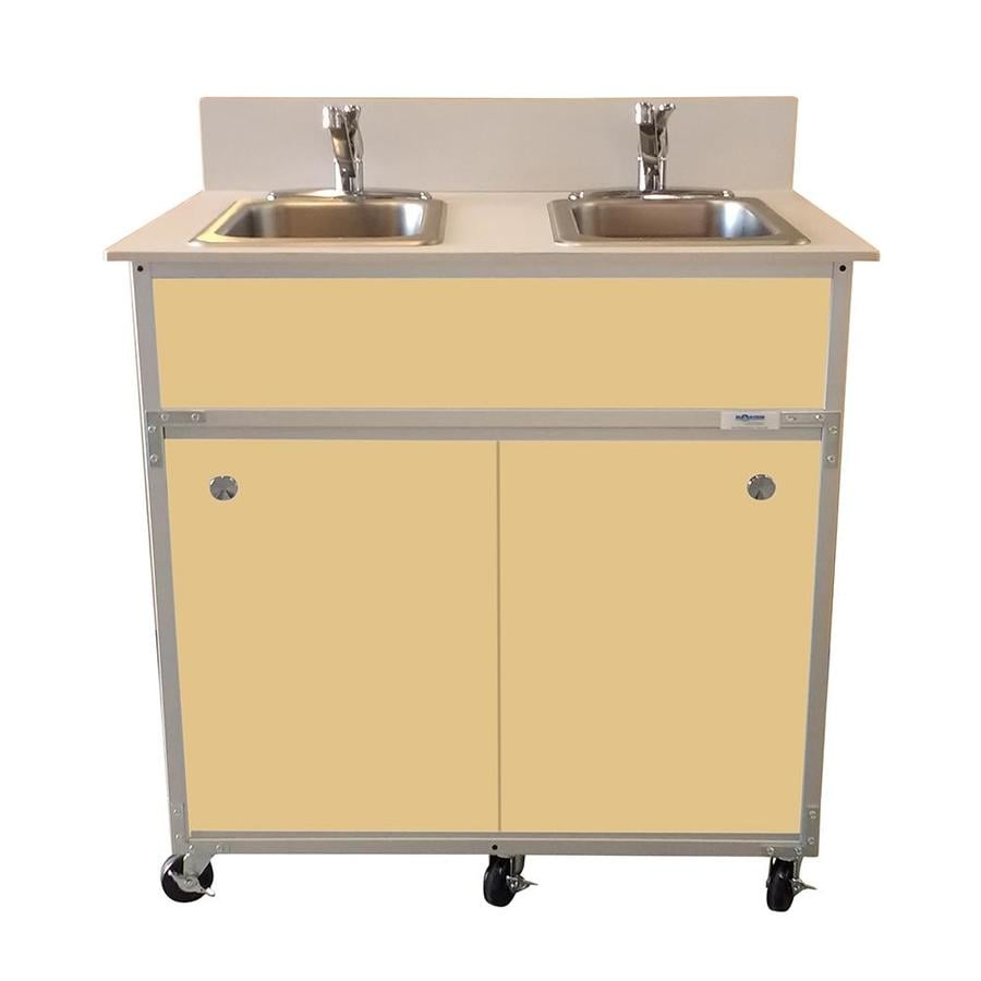 MONSAM Brown Double-Basin Stainless Steel Portable Sink