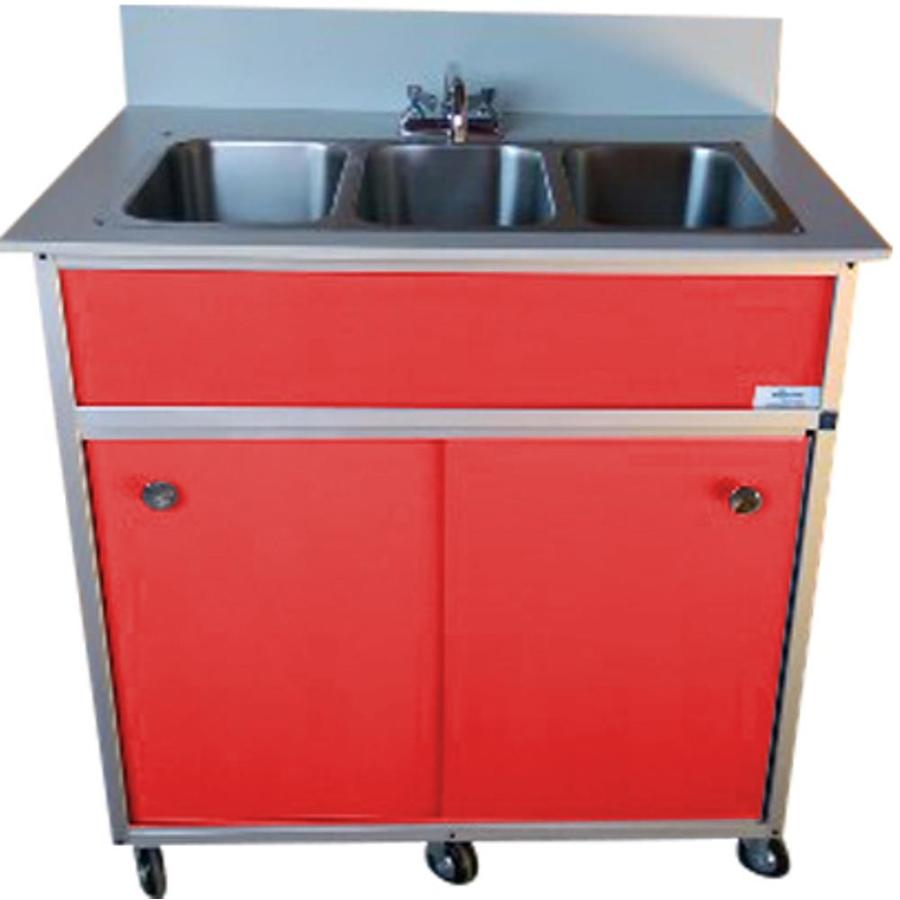 MONSAM Red Triple-Basin Stainless Steel Portable Sink