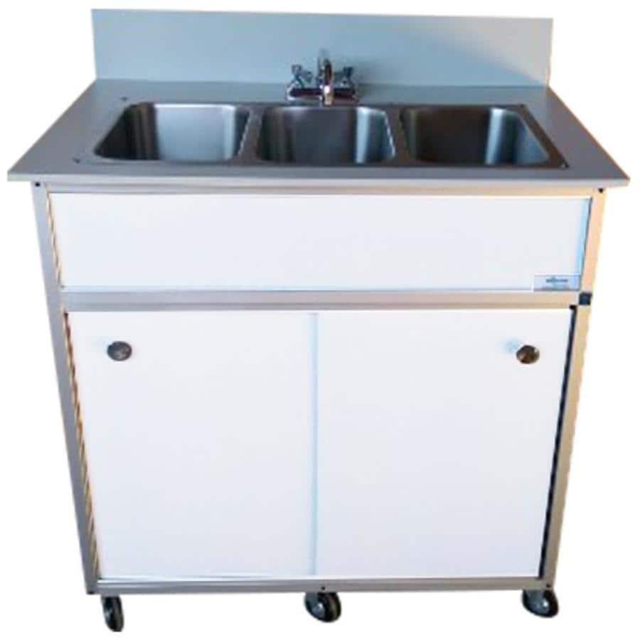 MONSAM White Triple-Basin Stainless Steel Portable Sink