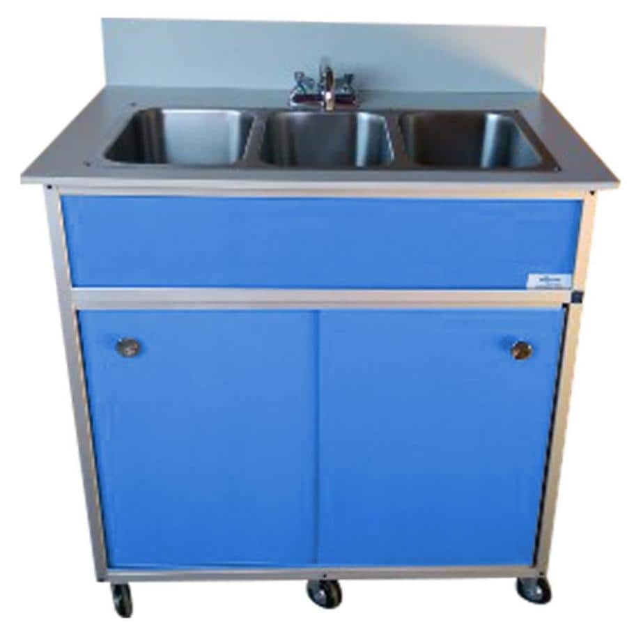 Shop monsam blue triple basin stainless steel portable sink at - Portable sink lowes ...