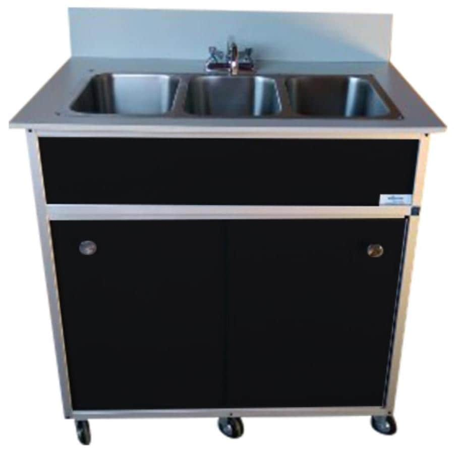 MONSAM Black Triple-Basin Stainless Steel Portable Sink