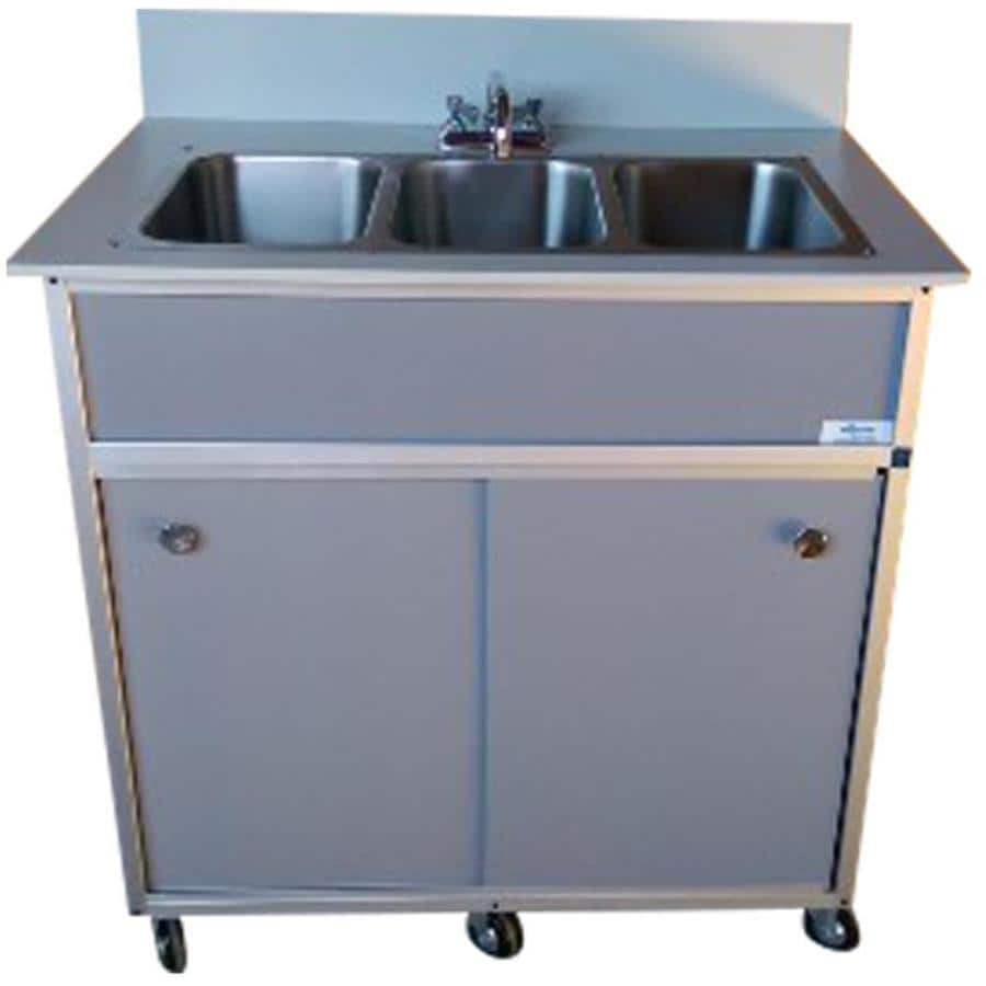 MONSAM Gray Triple-Basin Stainless Steel Portable Sink At