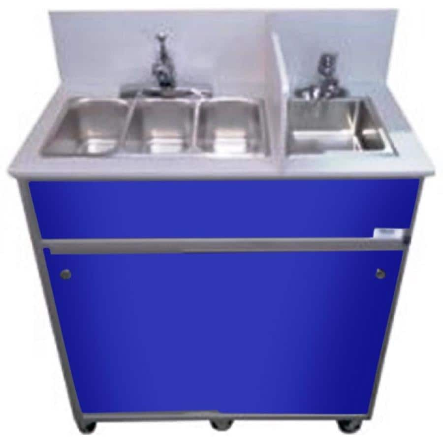 MONSAM Blue Quadruple-Basin Stainless Steel Portable Sink