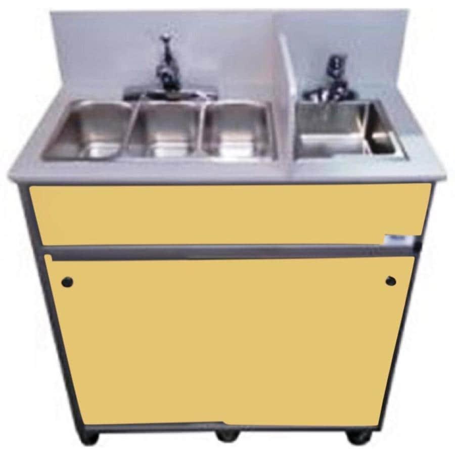 MONSAM Brown Quadruple-Basin Stainless Steel Portable Sink