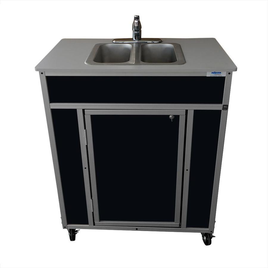 MONSAM Black Double-Basin Stainless Steel Portable Sink