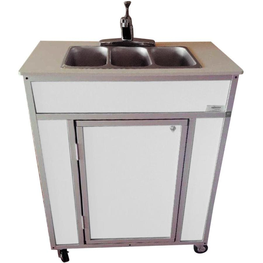 Shop monsam white triple basin stainless steel portable for Colored stainless steel sinks