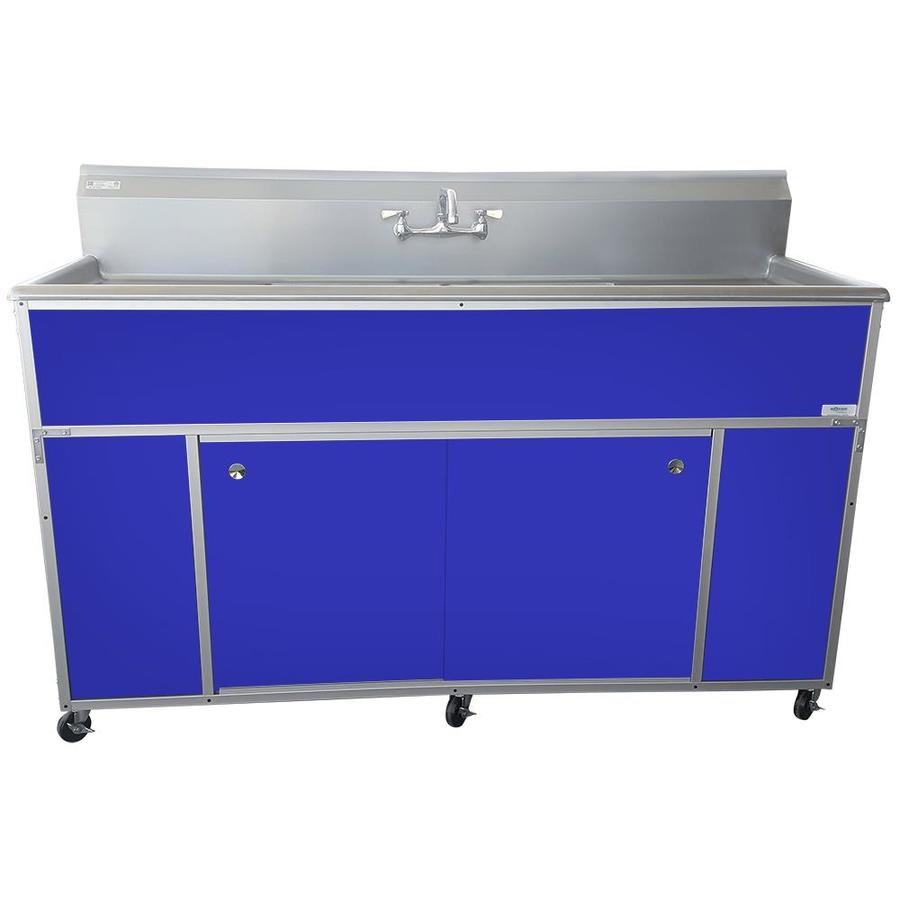 MONSAM Blue Double-Basin Stainless Steel Portable Sink