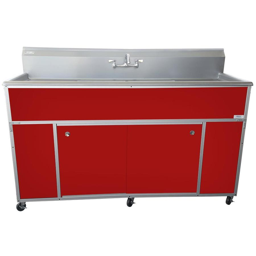 MONSAM Red Double-Basin Stainless Steel Portable Sink