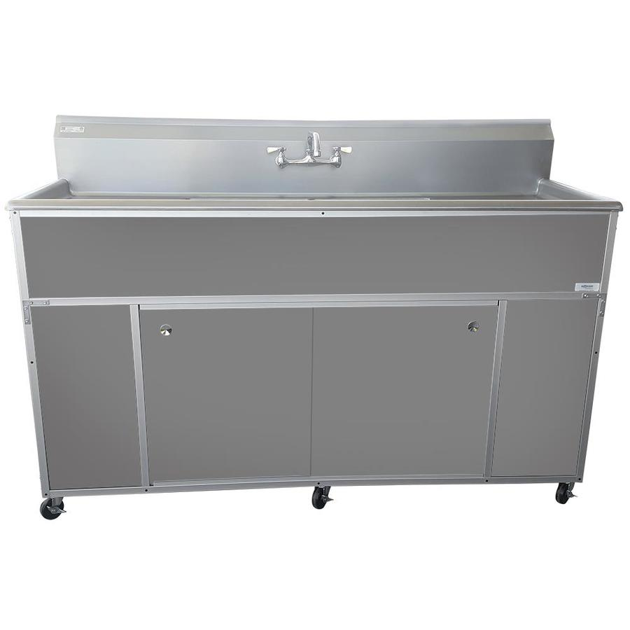 MONSAM Gray Double-Basin Stainless Steel Portable Sink