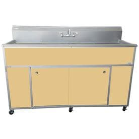 MONSAM Double-Basin Stainless Steel Portable Sink