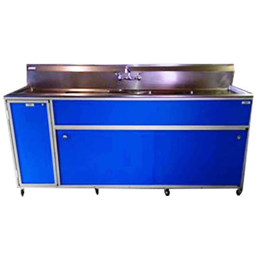 MONSAM Blue Triple-Basin Stainless Steel Portable Sink