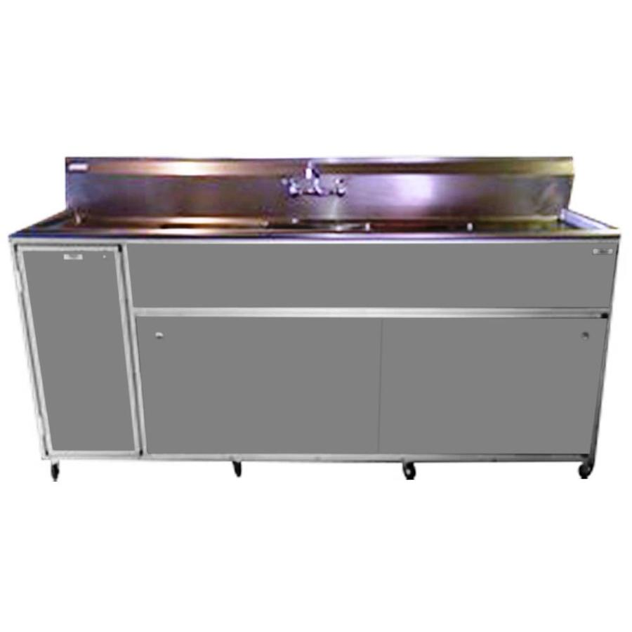 MONSAM Gray Triple-Basin Stainless Steel Portable Sink