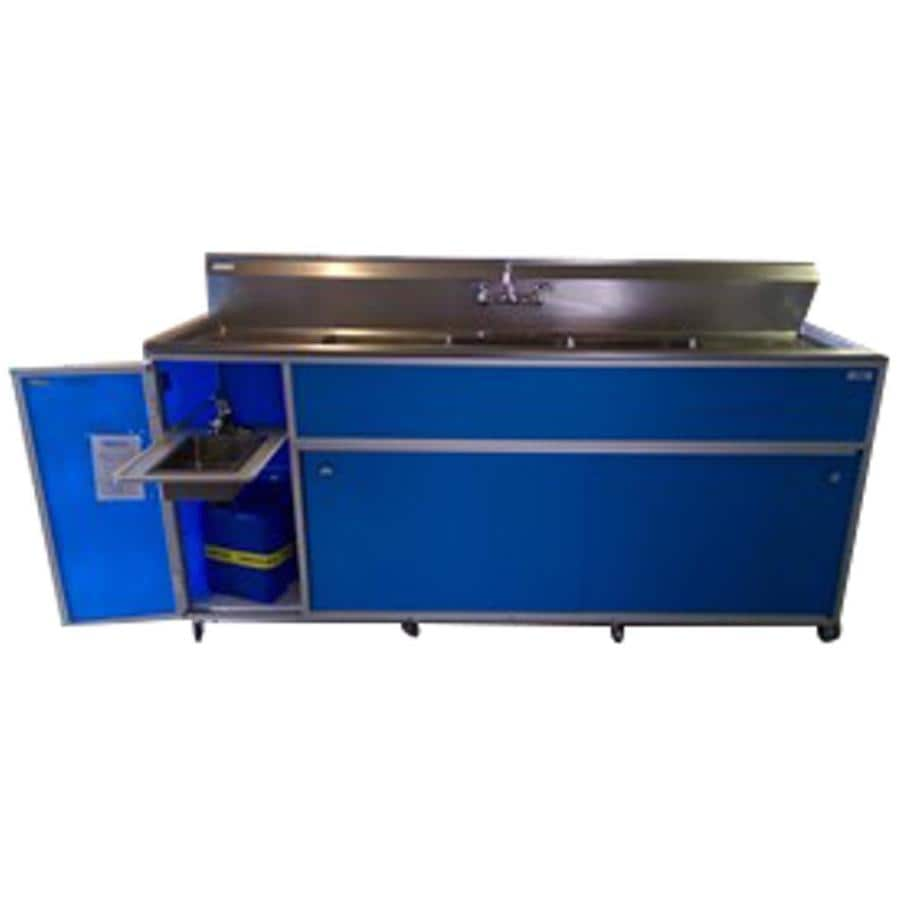 MONSAM Blue Quadruple-Basin Stainless Steel Portable Sink