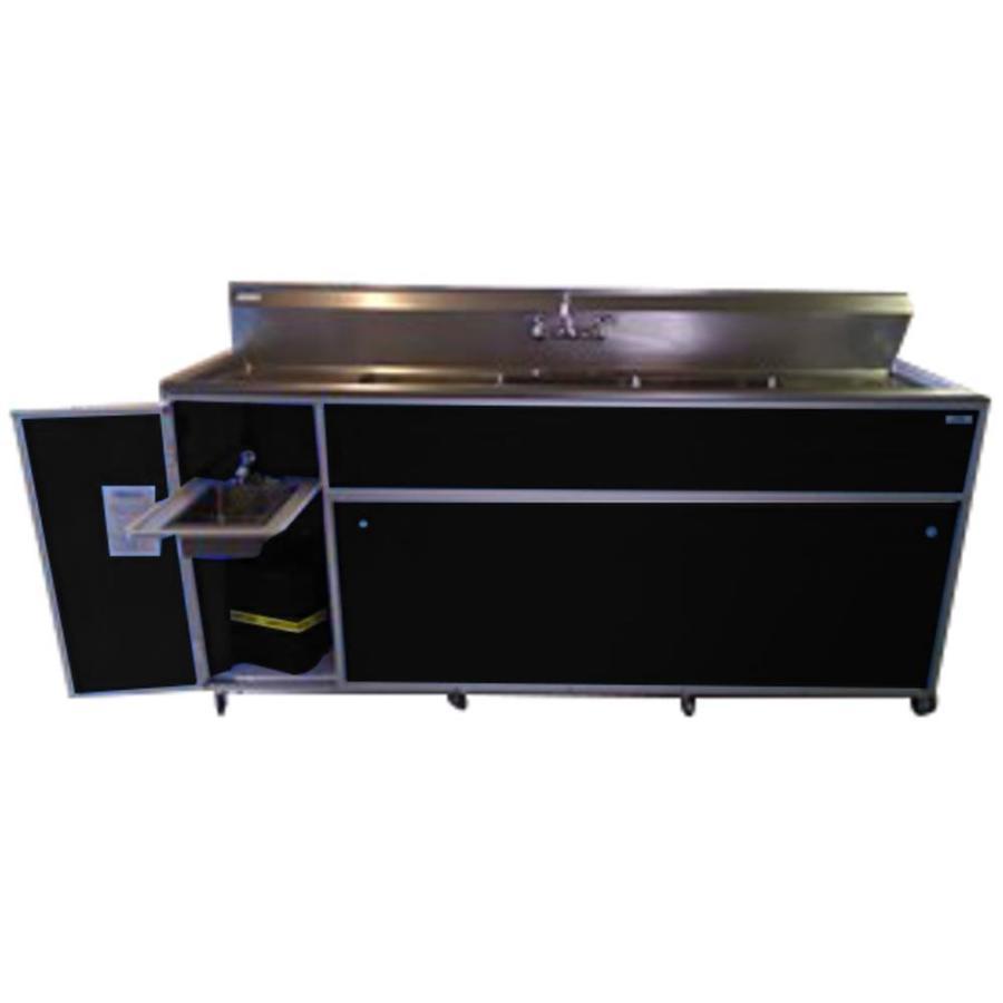 MONSAM Black Quadruple-Basin Stainless Steel Portable Sink