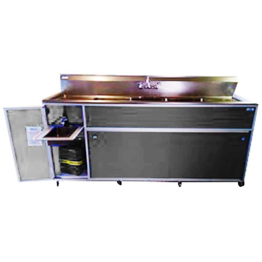 MONSAM Gray Quadruple-Basin Stainless Steel Portable Sink