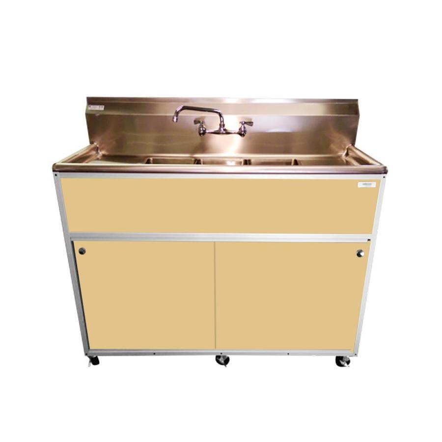 MONSAM Brown Triple-Basin Stainless Steel Portable Sink