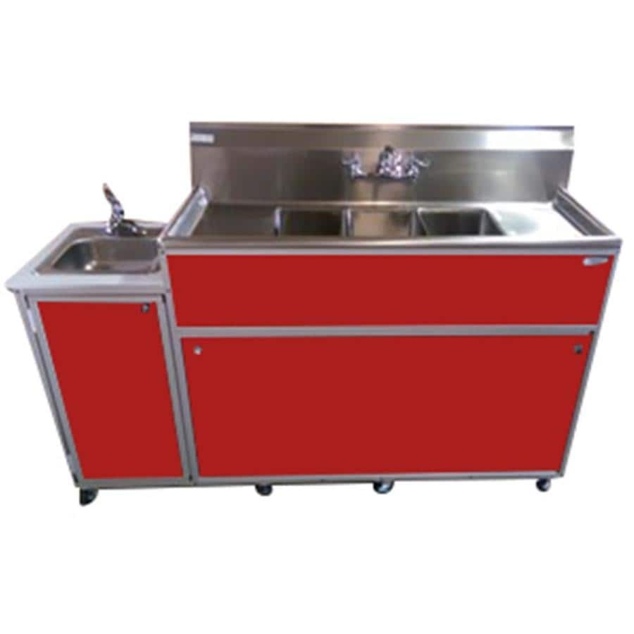MONSAM Red Quadruple-Basin Stainless Steel Portable Sink