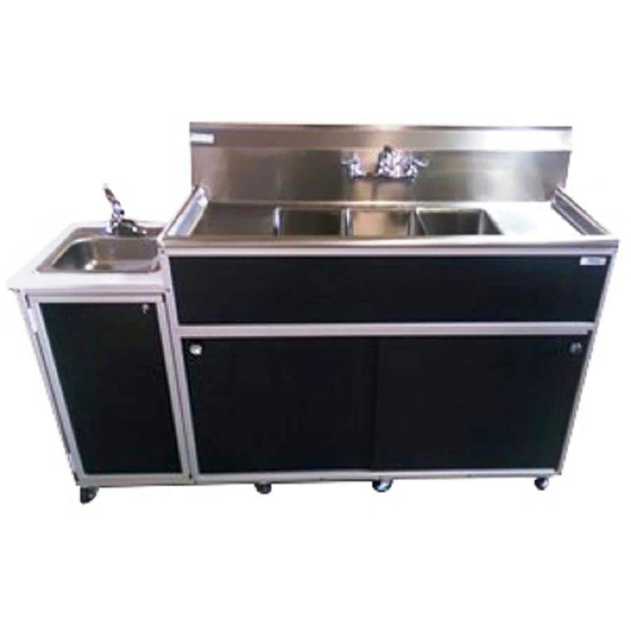 MONSAM Black Quadruple-Basin Stainless Steel Portable Sink