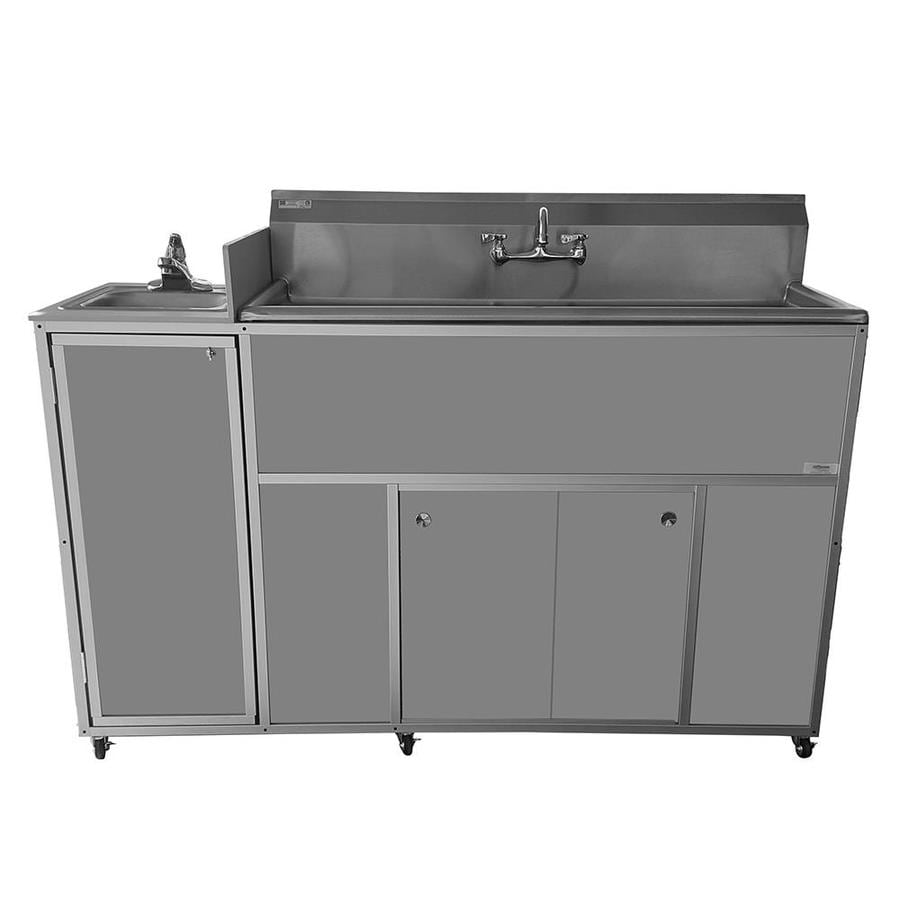 MONSAM Gray Quadruple-Basin Stainless Steel Portable Sink