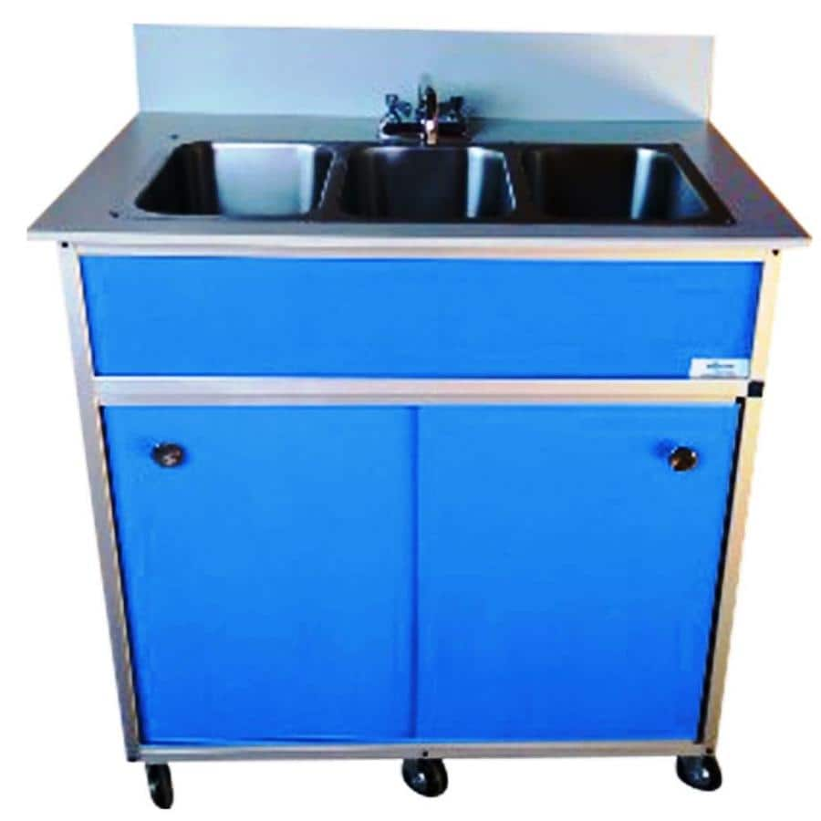 Shop monsam blue triple basin stainless steel portable for Colored stainless steel sinks