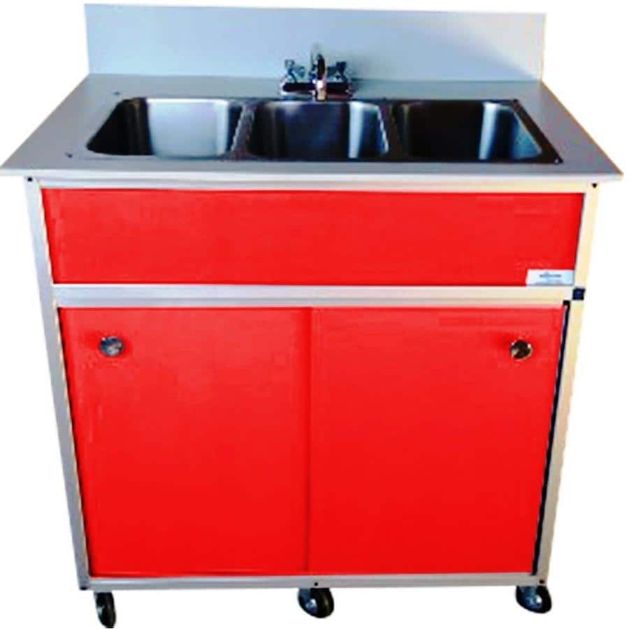 Shop MONSAM Red Triple-Basin Stainless Steel Portable Sink