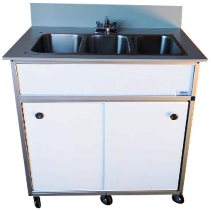 MONSAM White Triple-Basin Stainless Steel Portable Sink
