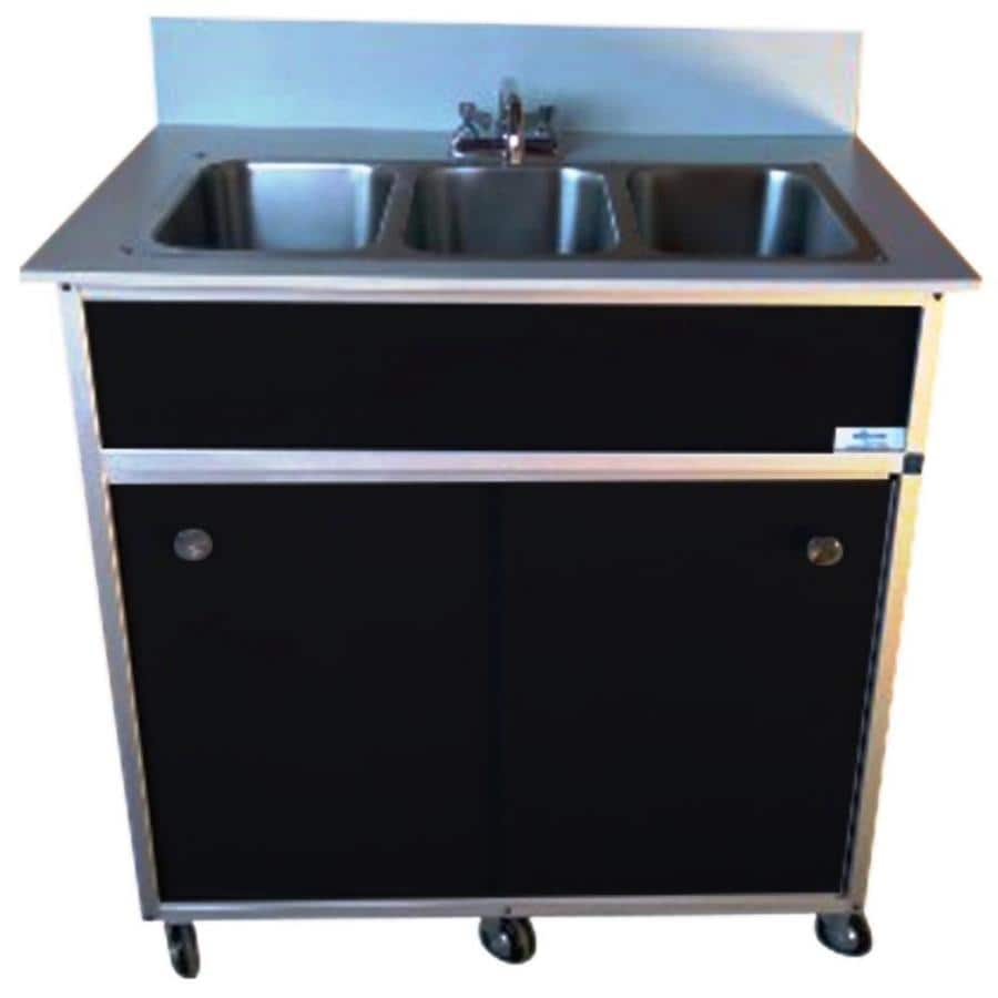 MONSAM Black Triple-Basin Stainless Steel Portable Sink