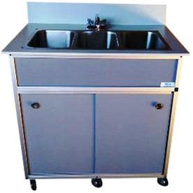 Monsam Gray Triple Basin Stainless Steel Portable Sink