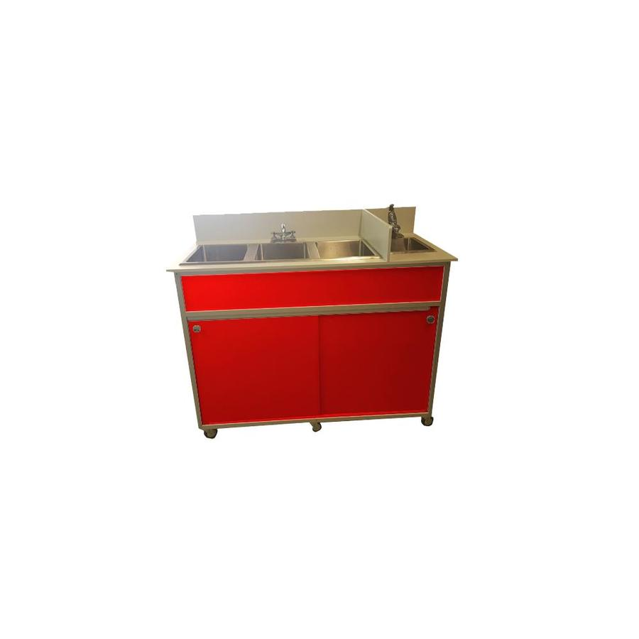 MONSAM Red Quadruple-Basin Stainless Steel Portable Sink