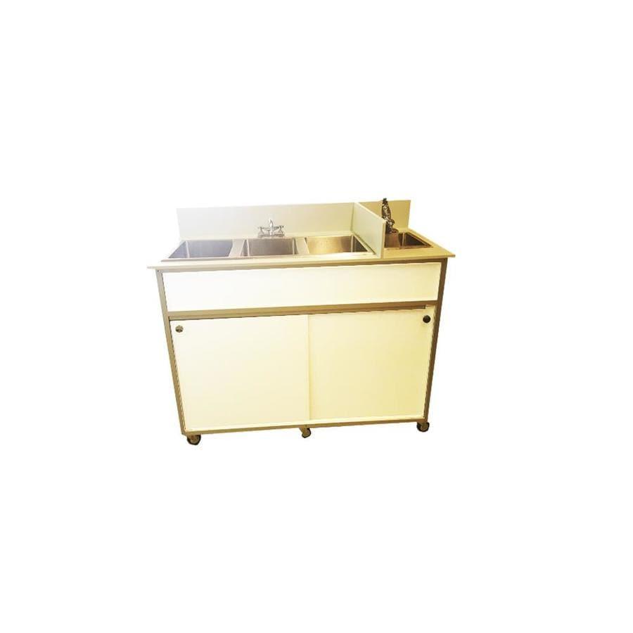 MONSAM White Quadruple-Basin Stainless Steel Portable Sink