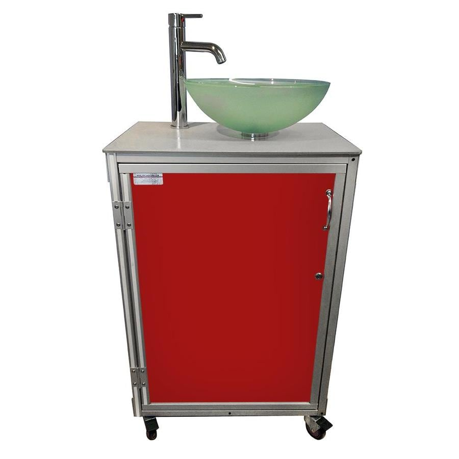 MONSAM Red Single-Basin Stainless Steel Portable Sink