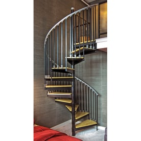 The Iron Shop Ontario 42 In X 10.25 Ft Black Spiral Staircase Kit