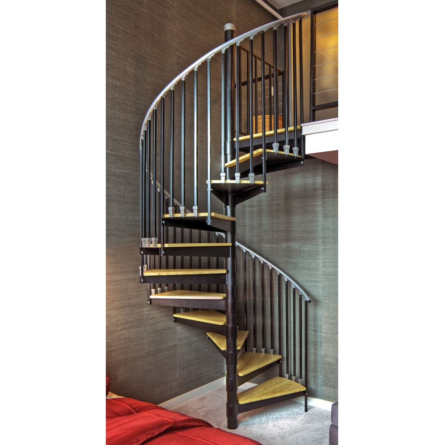 The Iron Shop Ontario 48 In X 10 25 Ft Black Spiral Staircase Kit At