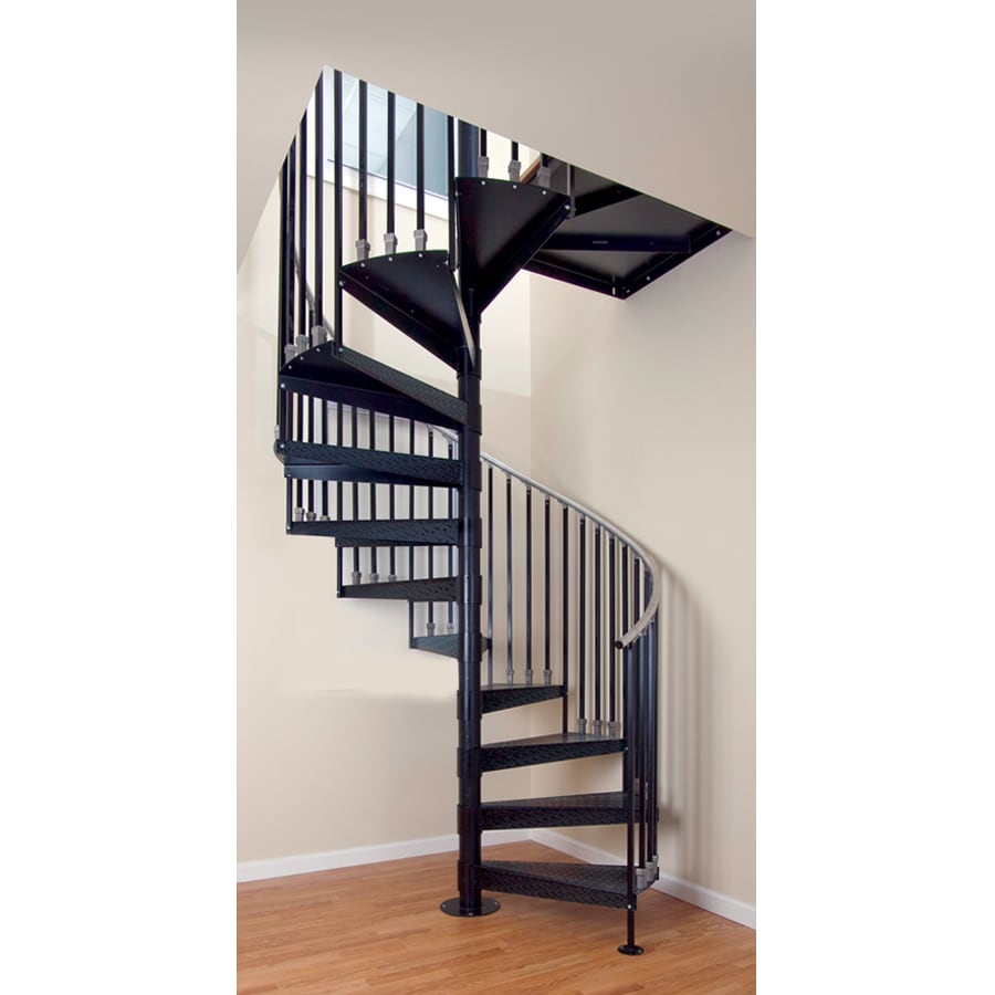 Shop The Iron Shop Elk Grove 42-in x 10.25-ft Black Spiral Staircase Kit at Lowes.com