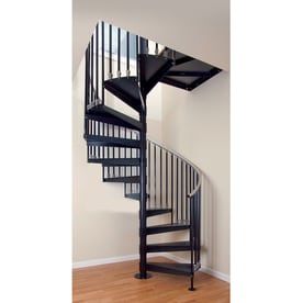 The Iron Elk Grove 48 In X 10 25 Ft Black Spiral Staircase Kit