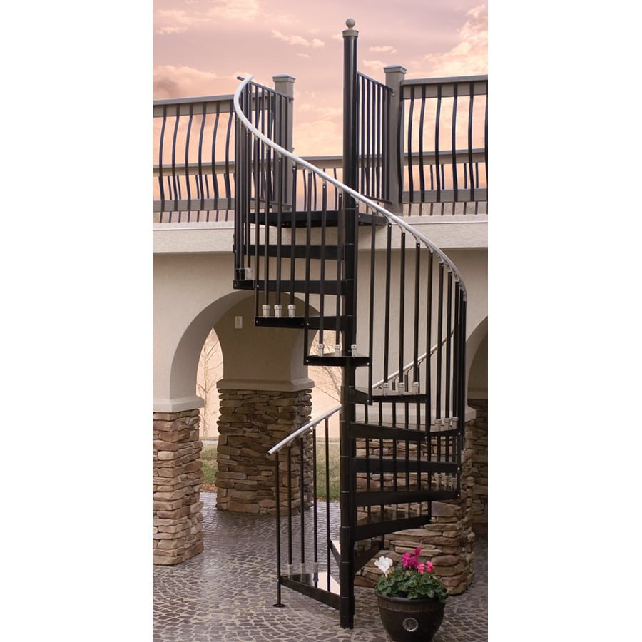 Shop The Iron Shop Houston 42-in x 10.25-ft Black Spiral Staircase ...