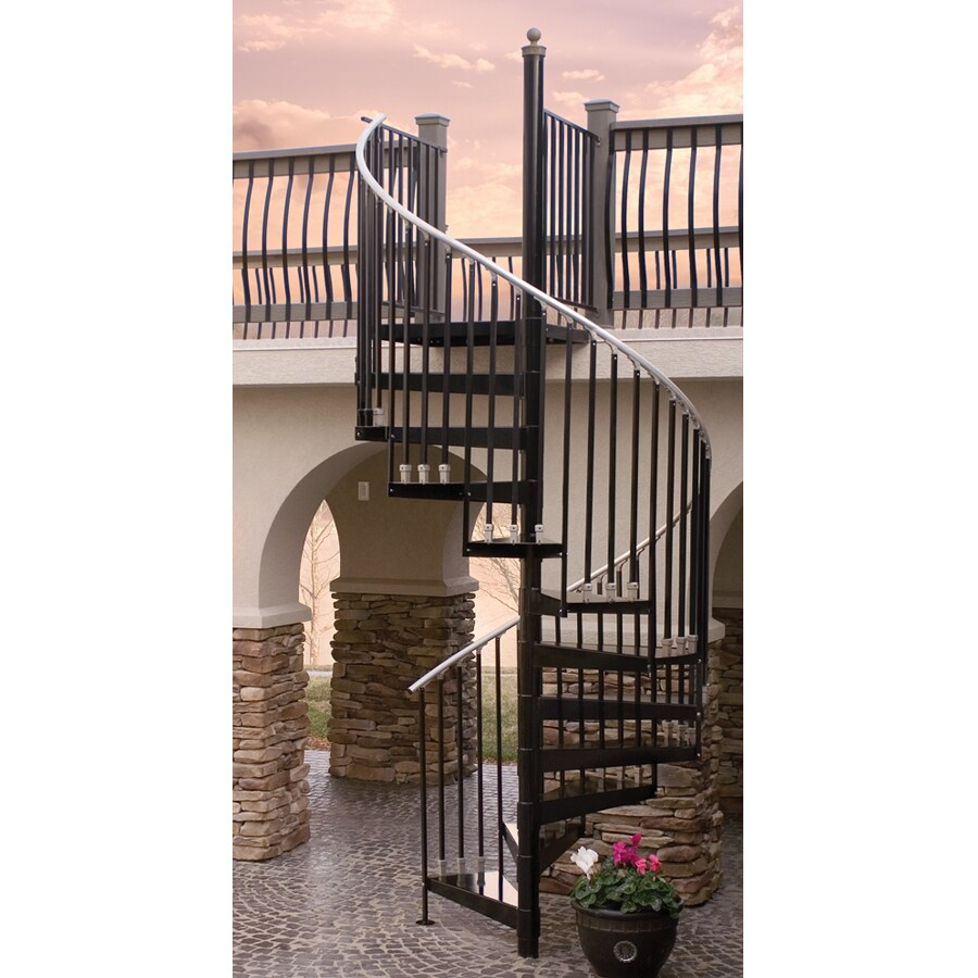 The iron shop houston 60 in x black spiral - Exterior metal spiral staircase cost ...