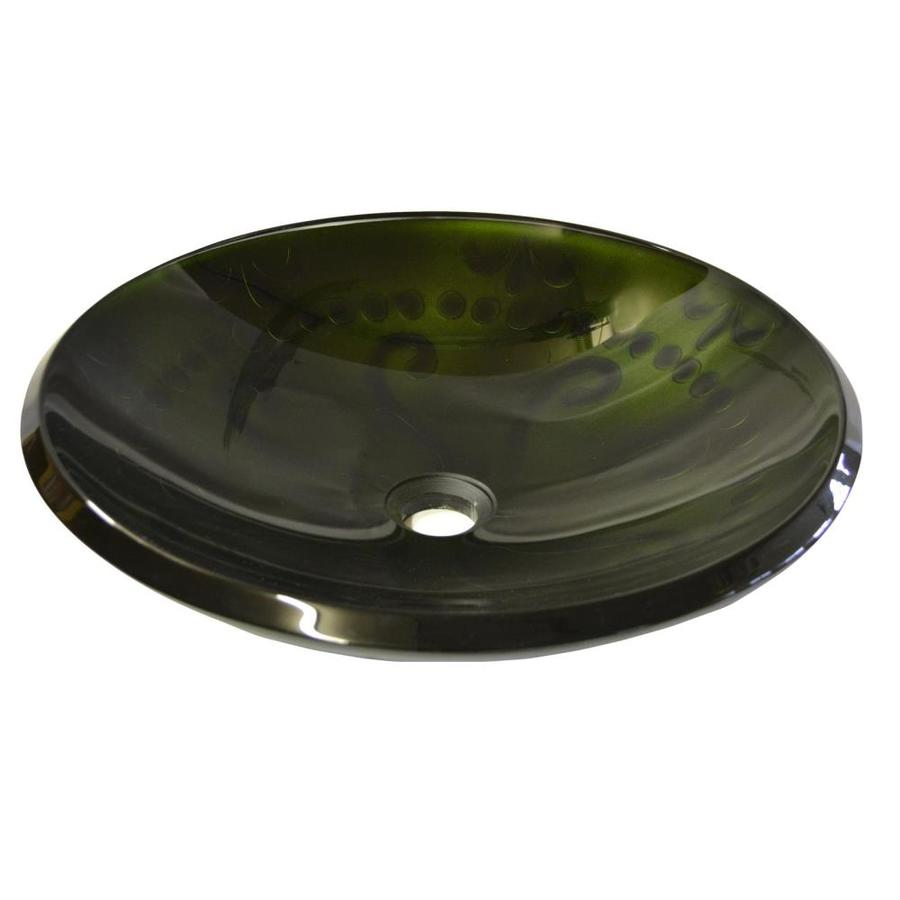 Eden Bath Green Glass Vessel Round Bathroom Sink At