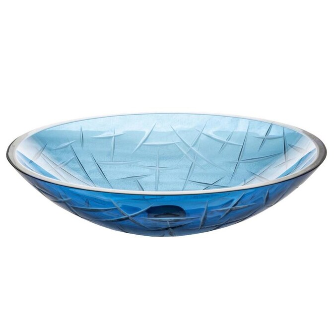 Eden Bath Blue Glass Vessel Oval Bathroom Sink 19 75 In X 15 In In The Bathroom Sinks Department At Lowes Com