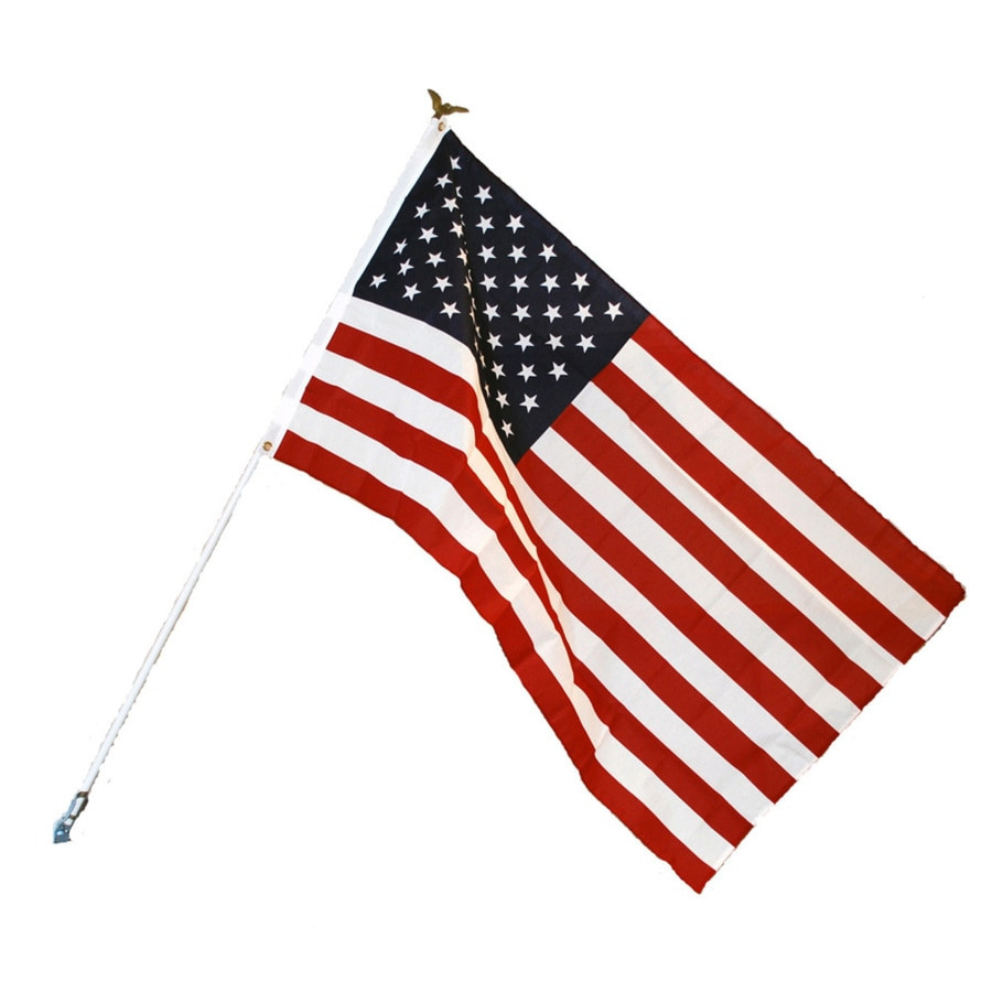 Independence Flag 5-ft W x 3-ft H American Flag Kit w/Pole $6.98 free pick up LOWES online deal