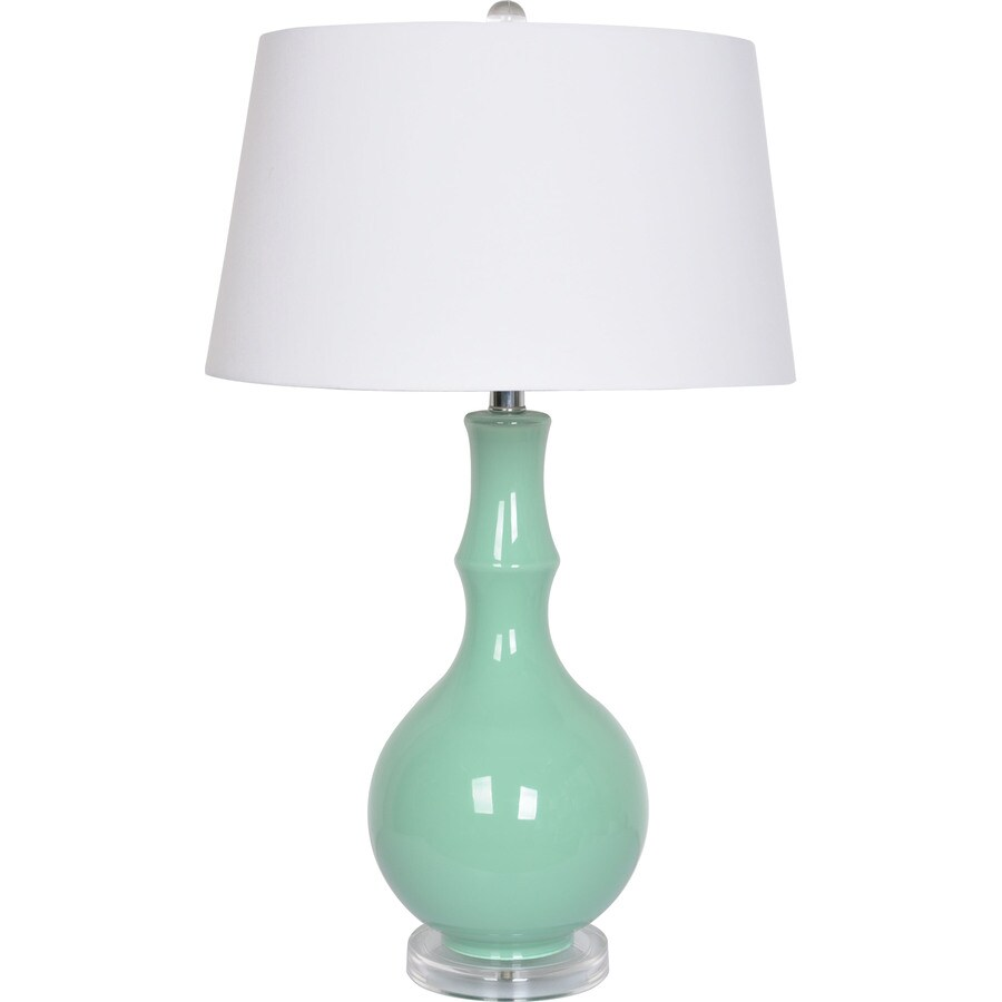Trident Home 29 In Clear/Acrylic Table Lamp With Fabric Shade