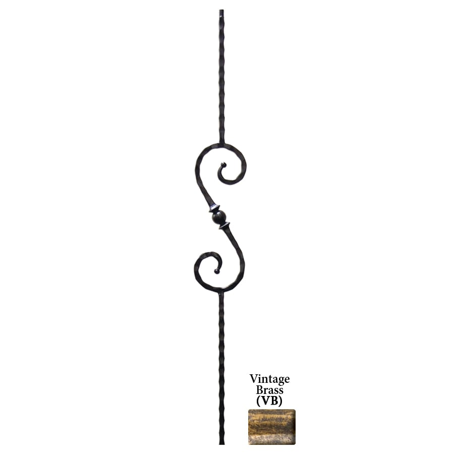 House of Forgings Solid 44-in Vintage Brass Wrought Iron Tuscan Stair Baluster