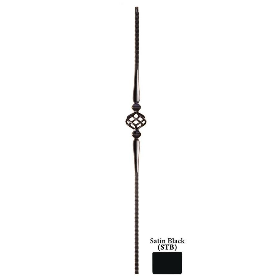 House of Forgings Solid 44-in Satin Black Wrought Iron Gothic Stair Baluster