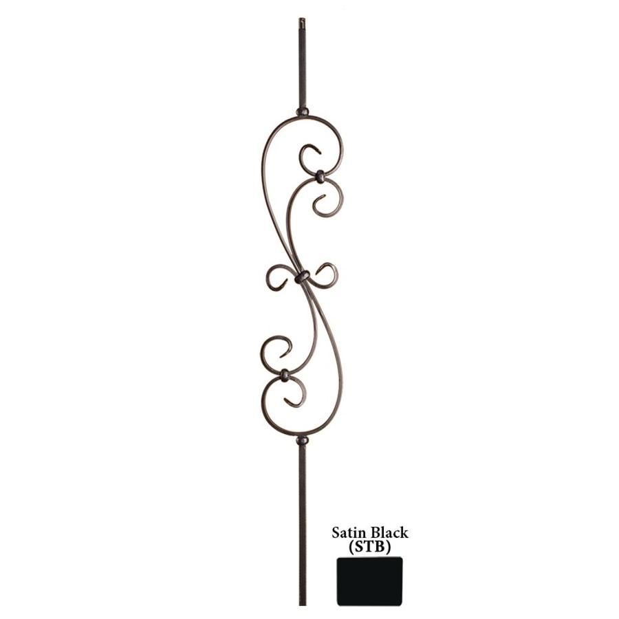 House of Forgings Solid 44-in Satin Black Wrought Iron Scroll Stair Baluster